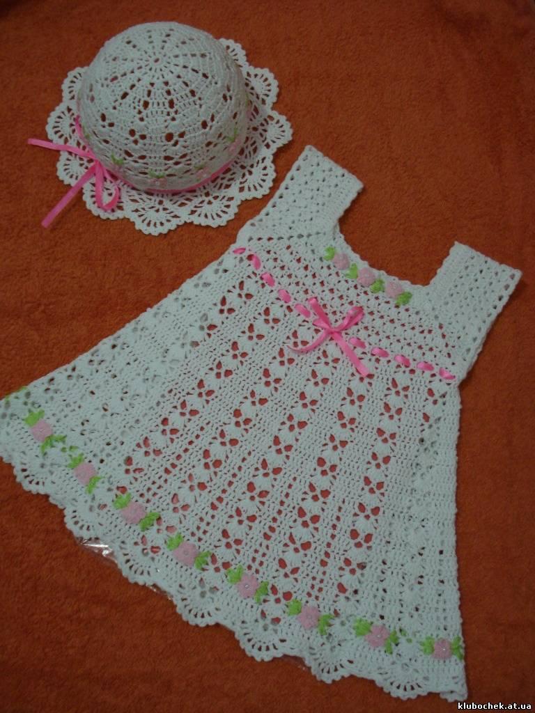 Связать крючком летнее платье на девочку до года